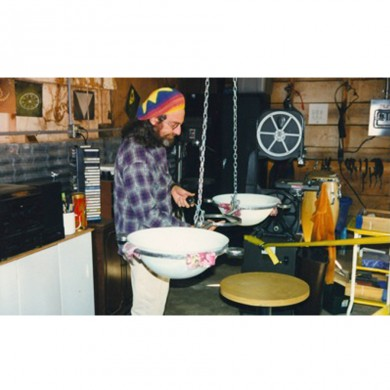 David working on the Crop Circle light fixture (1997)