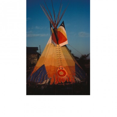 Medicine Lodge ~ Cotton duck, lodgepole pine, paint - 1982. My Home in Lenexa Kansas on Joe Karbank's land.