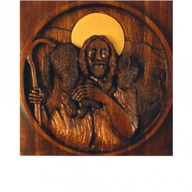 The Good Shepherd ~ Black Walnut, gold paint, 5' diameter / life size Bas-Relief