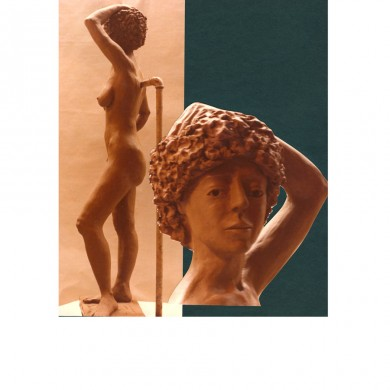 Doris Ann (Tarzan) as she called herself with detail ~ Clay / steel armature