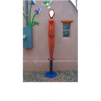 See Yourself With a Big Heart ~ Pine and paint, glass mirror in front of studio in Durango