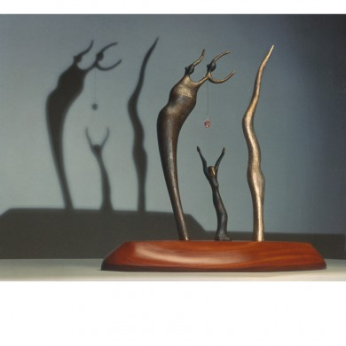 Soul Sister ~ Bronze, walnut, stone, glass, light, and shadow